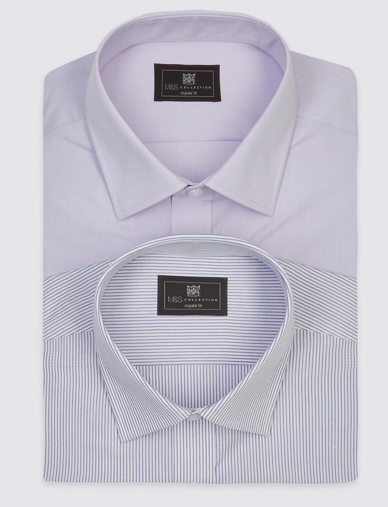 2'li Kolay Ütülenebilir Kısa Kollu Gömlek