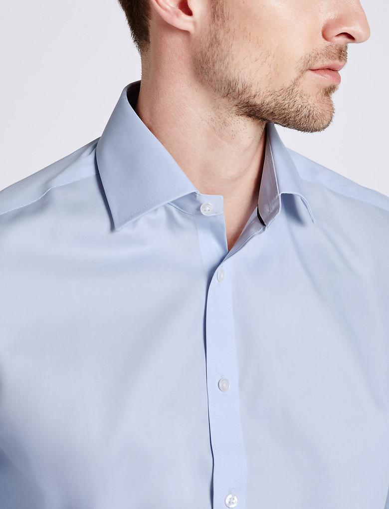 Erkek Mavi Ütü Gerektirmeyen Saf Pamuklu Gömlek