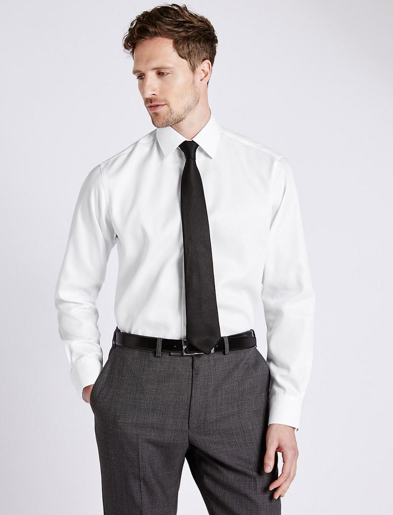 Erkek Beyaz Saf Pamuklu Ütü Gerektirmeyen Gömlek