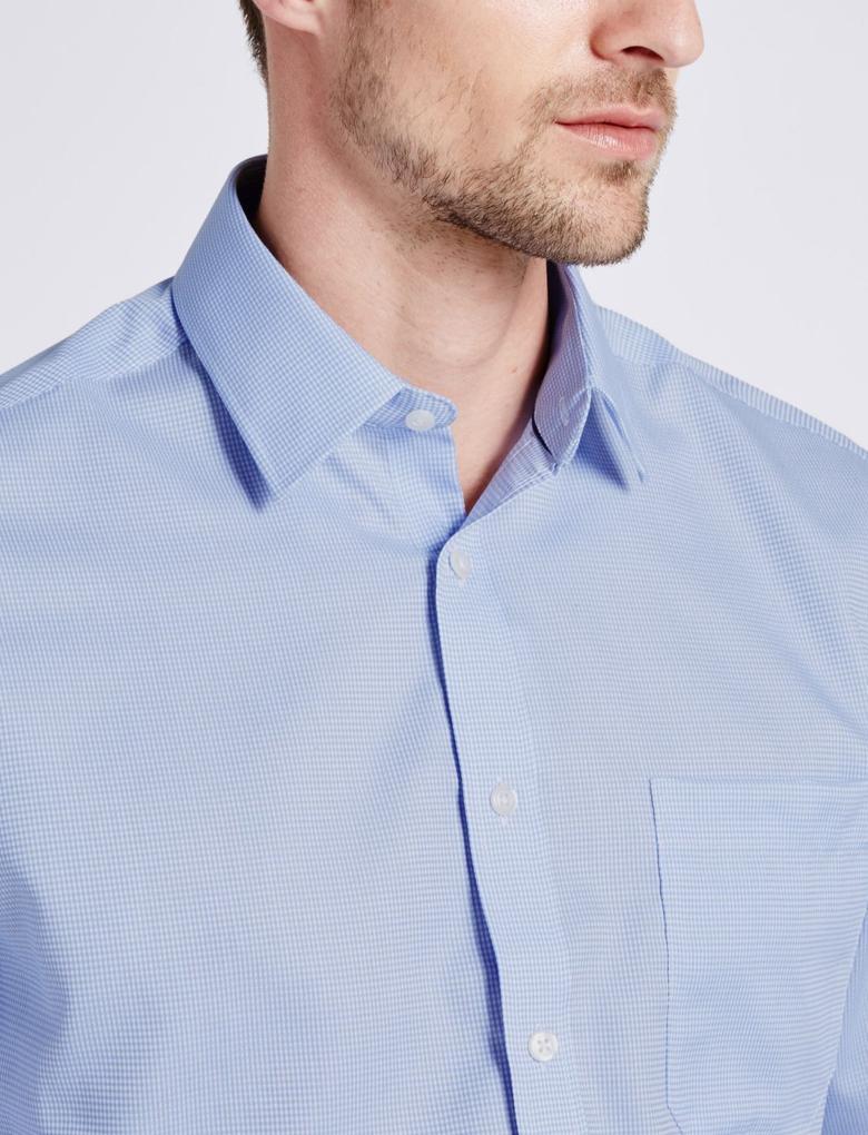 Erkek Mavi Saf Pamuklu Ütü Gerektirmeyen Cepli Gömlek