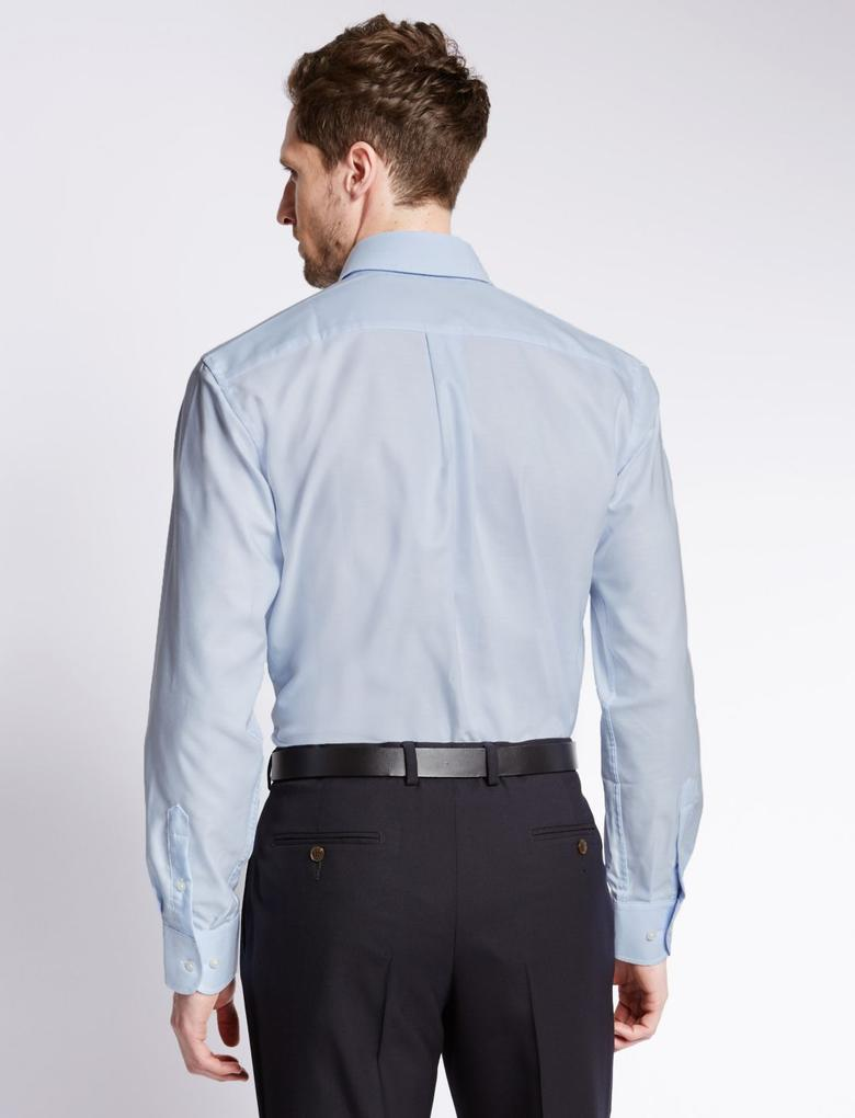 Saf Pamuklu Kolay Ütülenebilir Oxford Gömlek