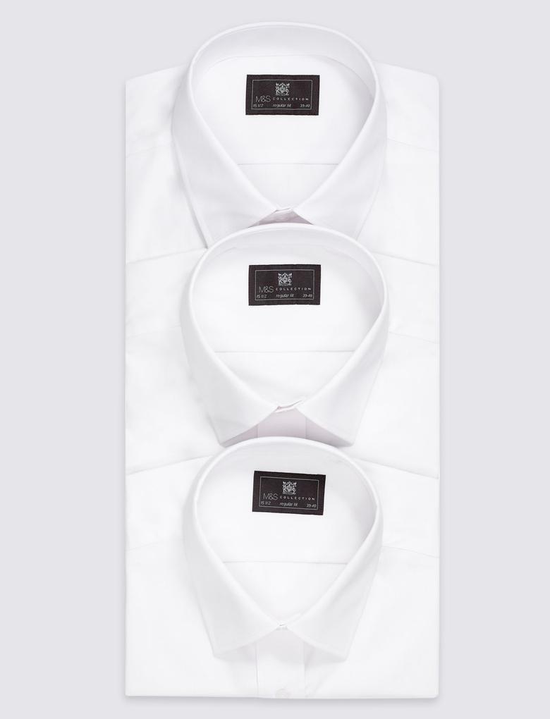 Beyaz 3'lü Kolay Ütülenebilir Cepli Gömlek