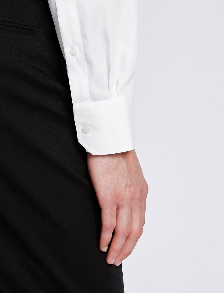 Pure Cotton Ütü Gerektirmeyen Slim Gömlek
