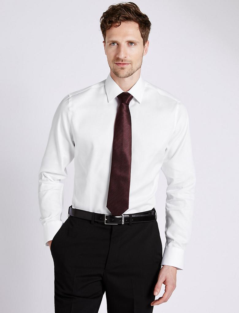 Saf Pamuklu Ütü Gerektirmeyen Slim Gömlek
