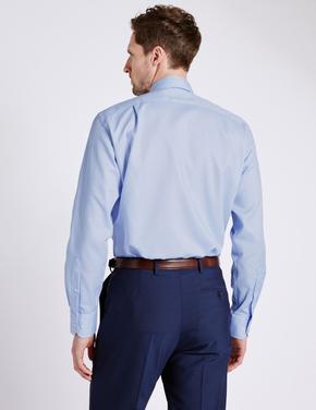 Mavi Saf Pamuklu Ütü Gerektirmeyen Cepli Gömlek