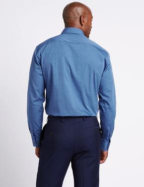 Lacivert Saf Pamuklu Kolay Ütülenebilir Tailored Fit Gömlek