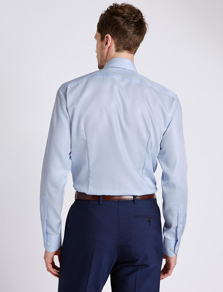 Ütü Gerektirmeyen Saf Pamuklu Slim Gömlek