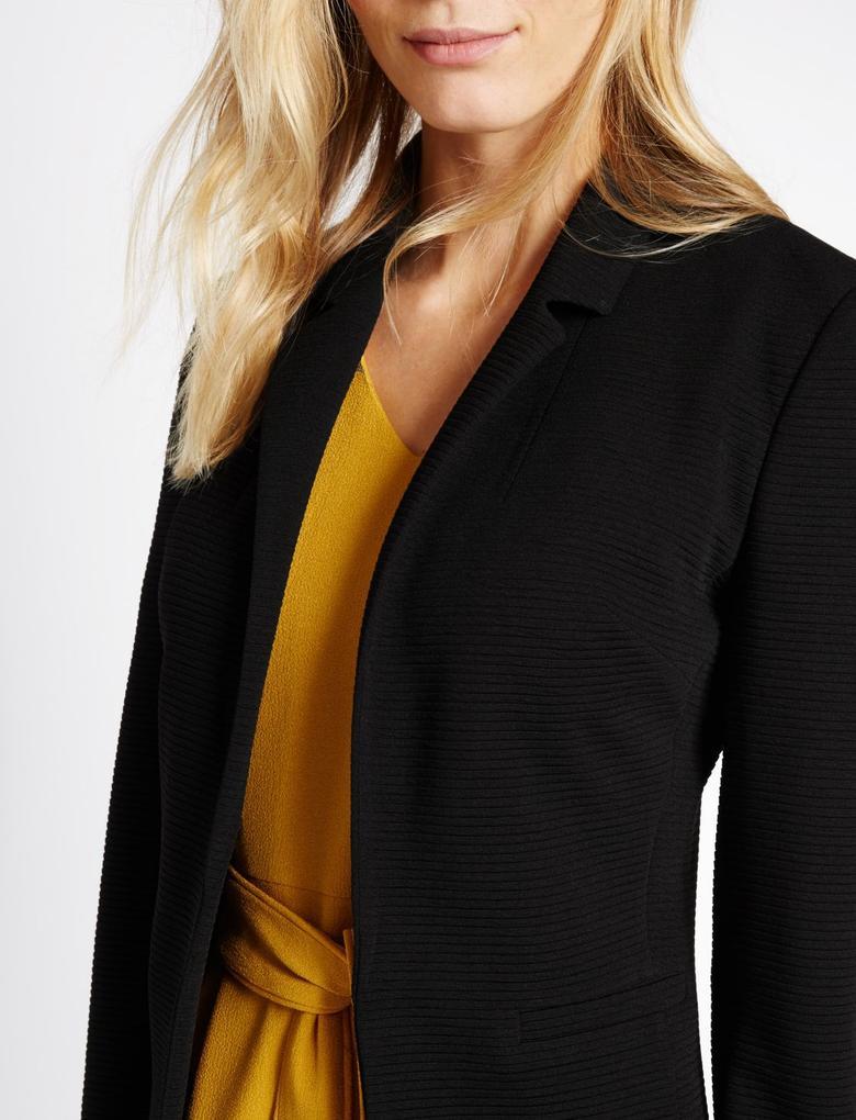 Önü Açık Jarse Blazer Ceket