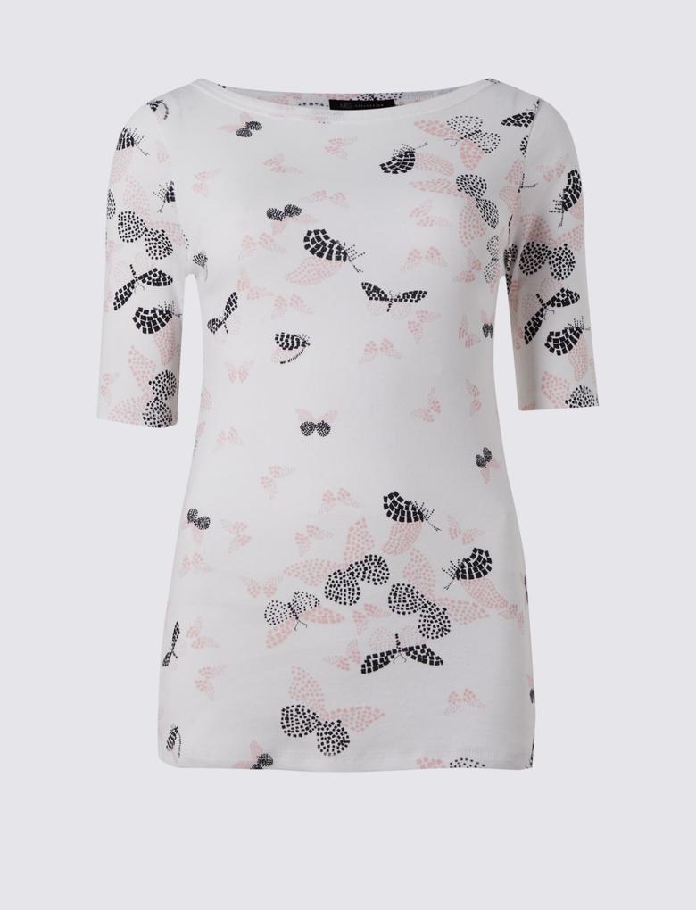 Desenli Yarım Kollu T-Shirt