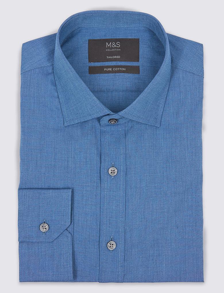 Erkek Lacivert Saf Pamuklu Kolay Ütülenebilir Tailored Fit Gömlek
