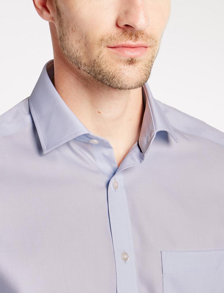 Saf Pamuklu Ütü Gerektirmeyen Tailored Gömlek