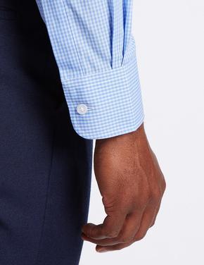 Mavi 3'lü Pamuklu Kolay Ütülenebilir Gömlek