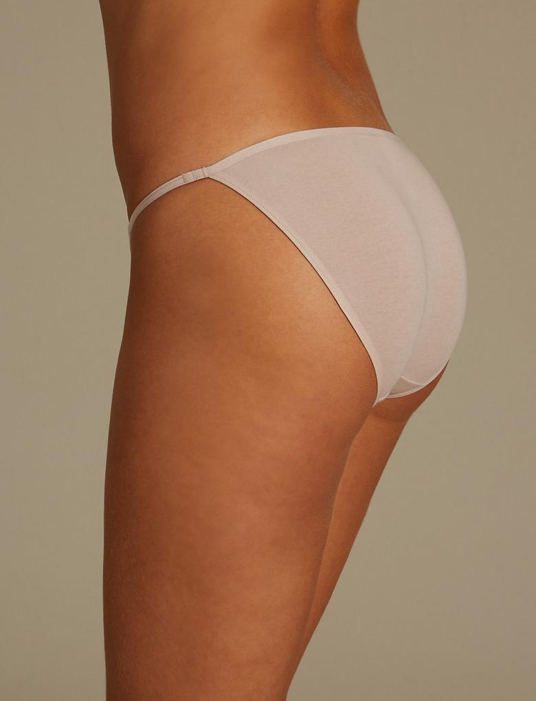 Bej 5'li Pamuklu Bikini Külotlar