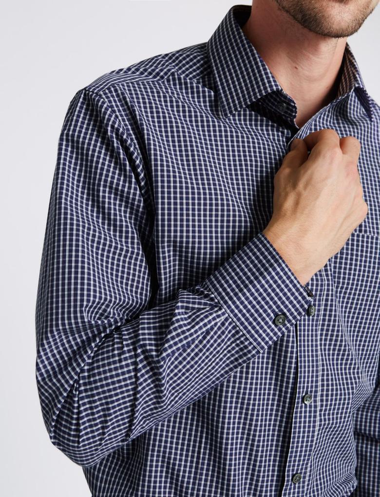 Kolay Ütülenebilir Cepli Kareli Gömlek