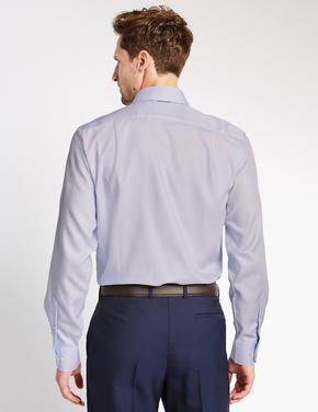 Erkek Mavi Saf Pamuklu Ütü Gerektirmeyen Tailored Gömlek