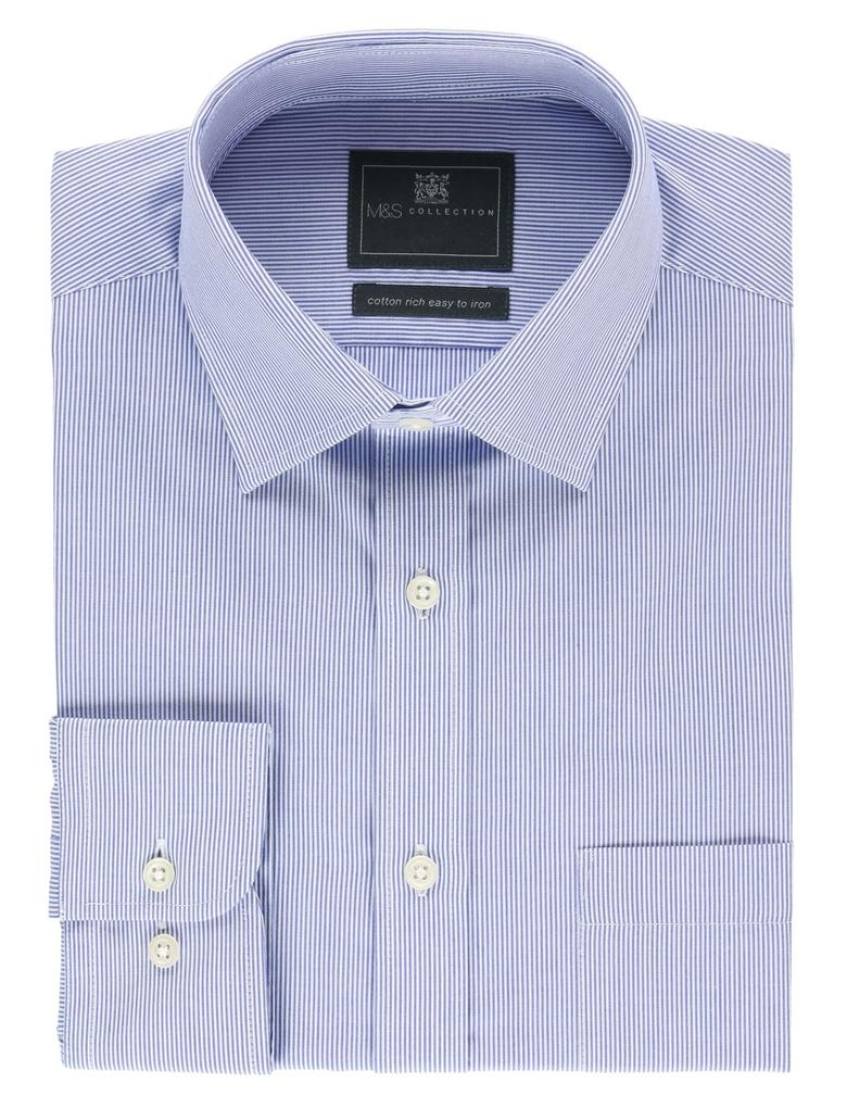 Erkek Mavi Ütü Gerektirmeyen Regular Fit Cepli Gömlek