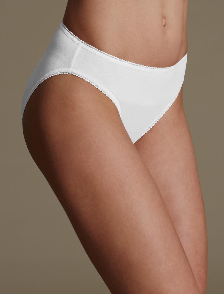 Kadın Beyaz 5'li Pamuklu High Leg Külot (Yeni ve Geliştirilmiş Kumaş)