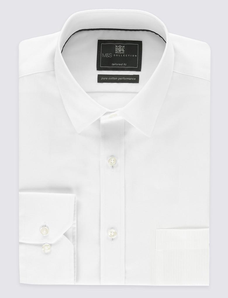 Performance Saf Pamuklu Ütü Gerektirmeyen Gömlek