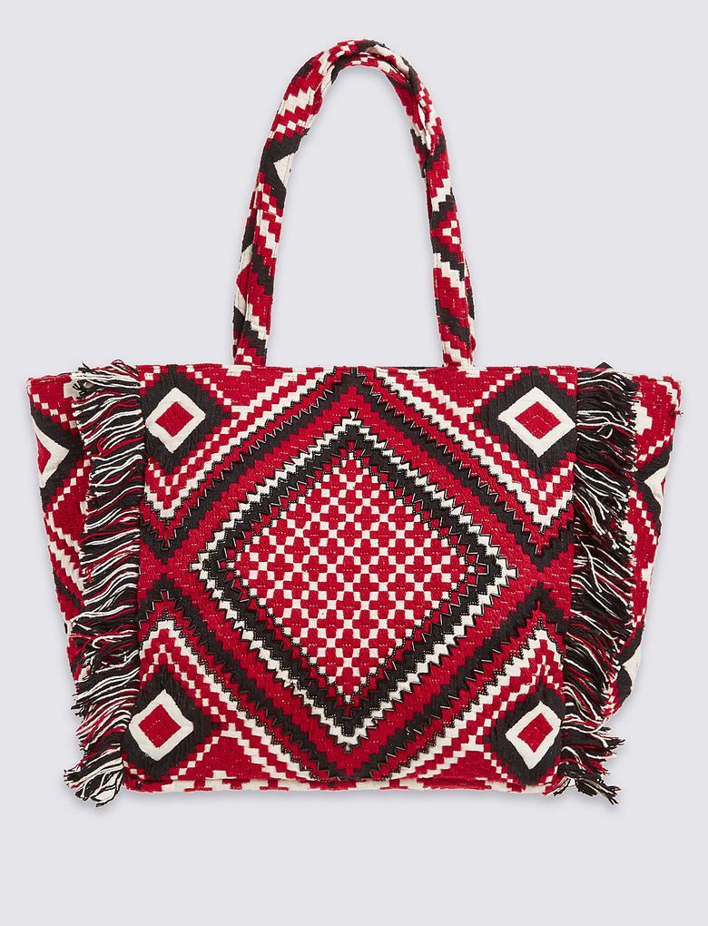 Aztek Desenli Shopper Çanta