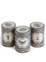 Mavi 3'lü Güvercinli Çay, Şeker ve Kahve Saklama Kapları