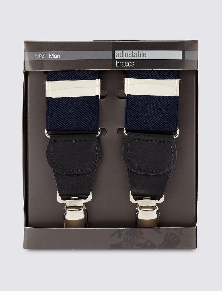 Lacivert Ayarlanabilir Çapraz Pantolon Askısı