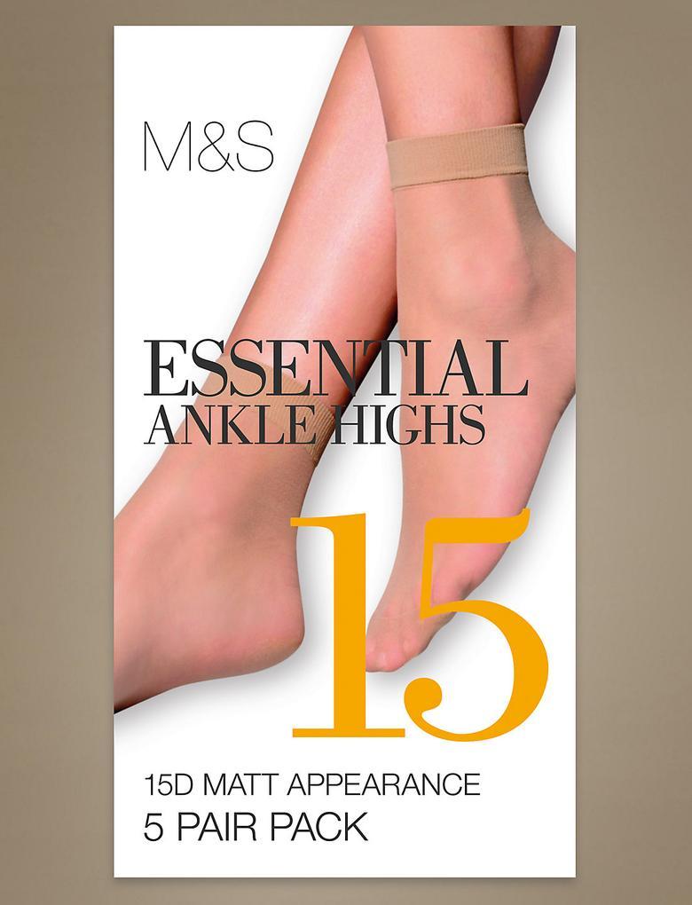 15 Denye Önemli Mat Soket Çorap 5 Çift Paketi