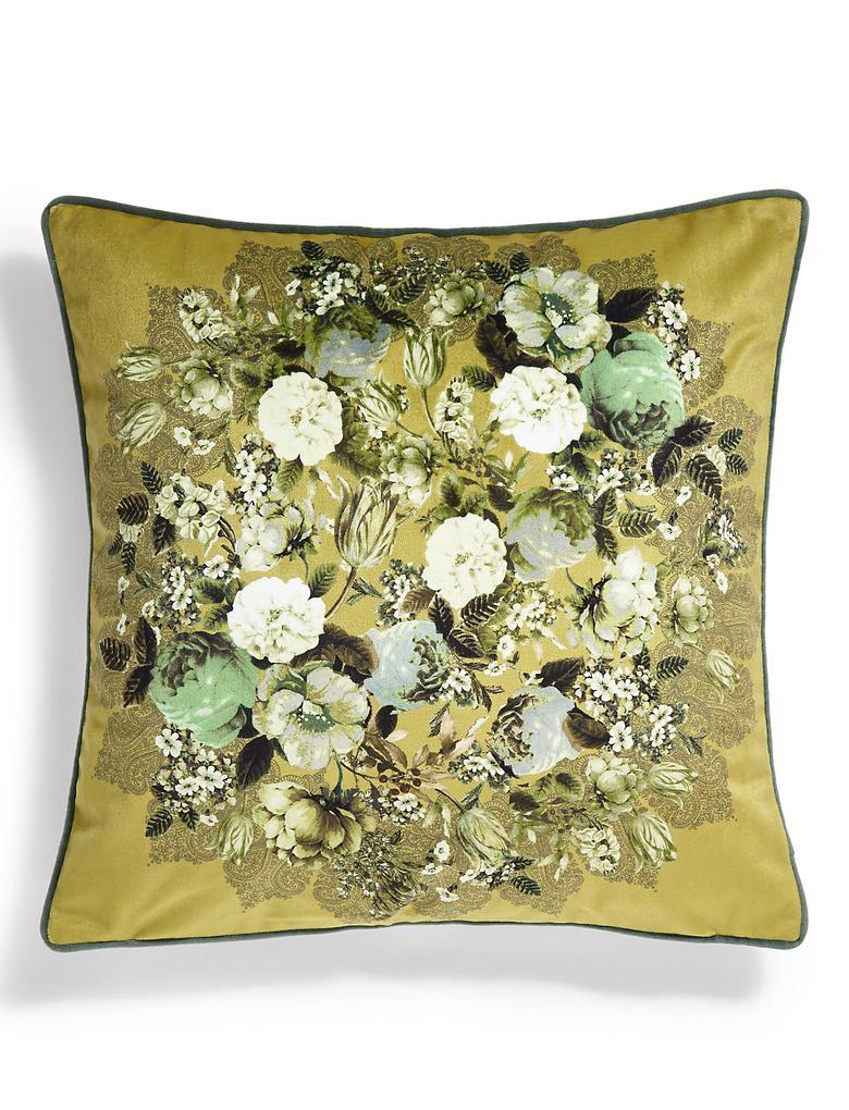Yeşil Çiçekli Dekoratif Yastık
