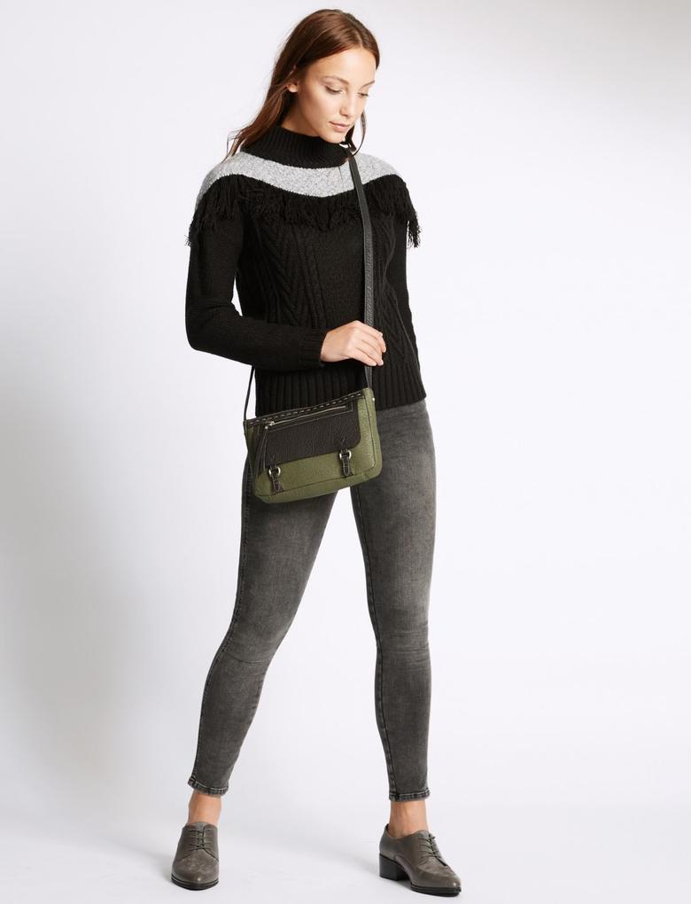 Kadın Yeşil Deri Görünümlü Çapraz Askı Çanta