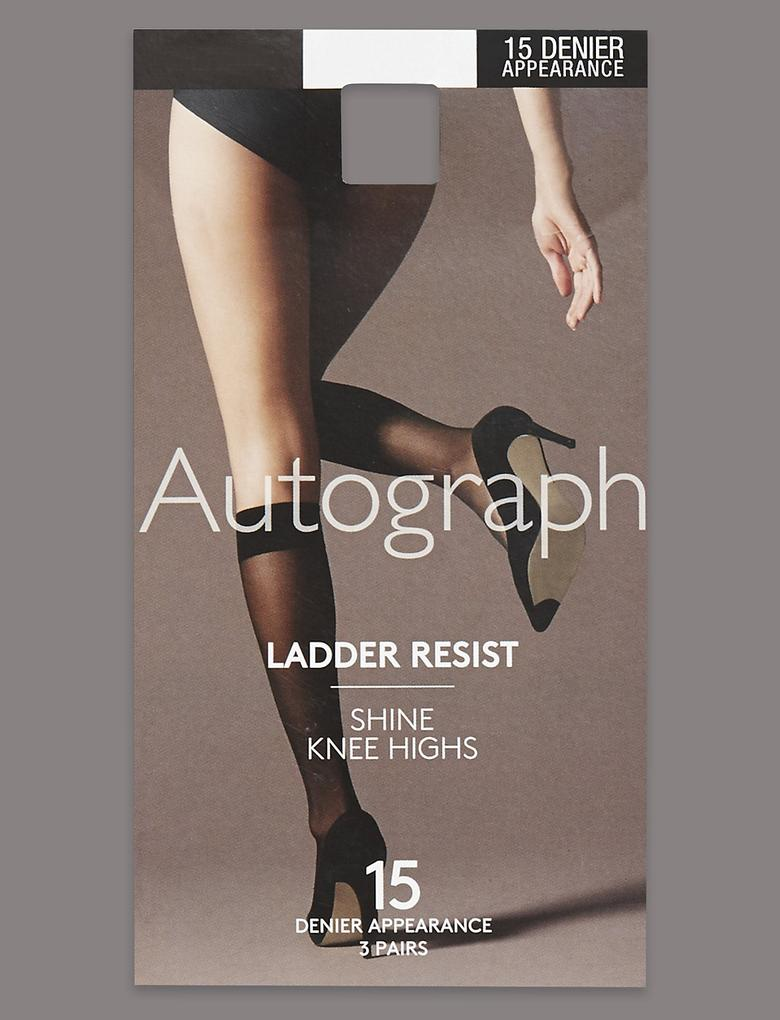 3'lü 15 Denye Freshfeet™ Kaçmaya Dayanıklı Parlak Diz Altı Çorap (Silver Teknolojisi ile)