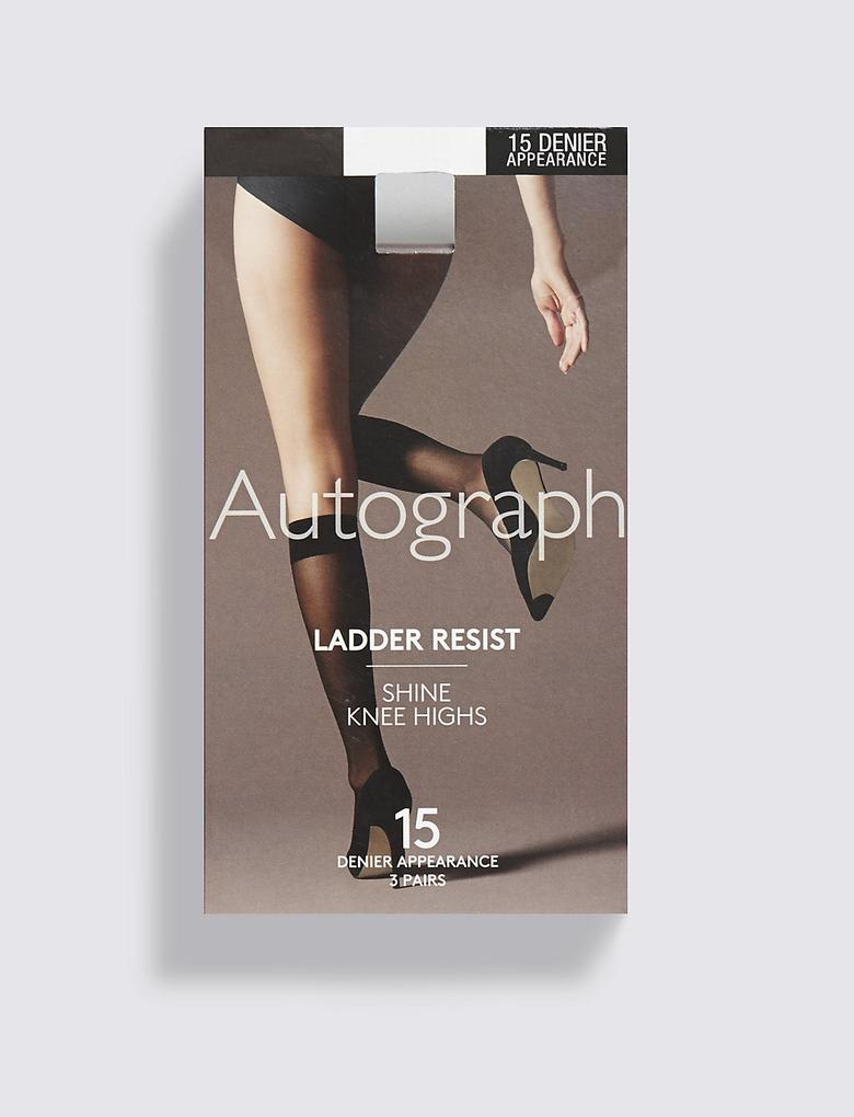 Siyah 3'lü 15 Denye Freshfeet™ Kaçmaya Dayanıklı Parlak Diz Altı Çorap (Silver Teknolojisi ile)
