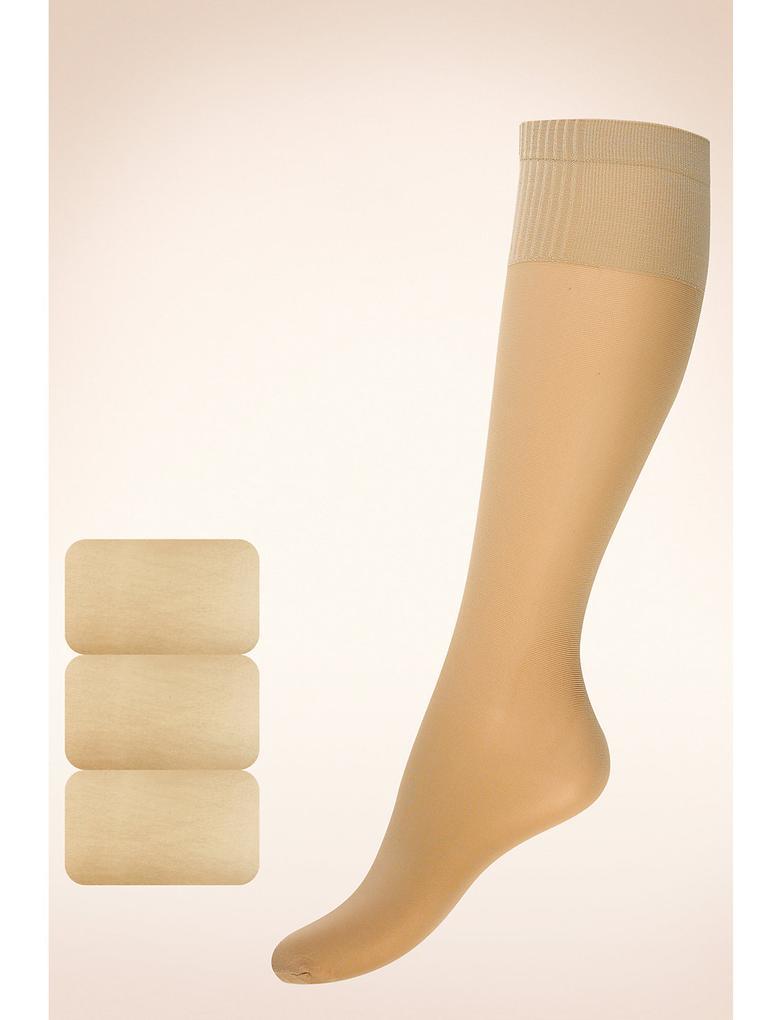 Kadın Kahverengi 3'lü 15 Denye Medium Support Parlak Diz Altı Çorap (Siver Teknolojisi ile)