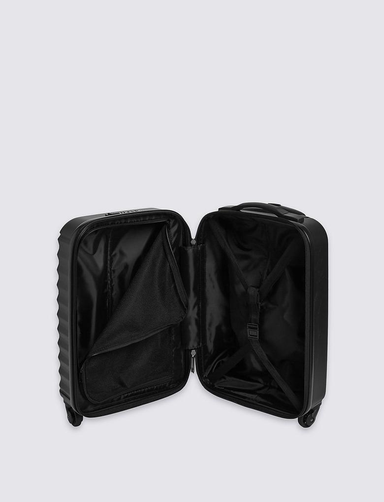 Siyah 4 Tekerlekli Kabin Boy Sert Yüzeyli Valiz (Güvenlik Fermuarı ile)