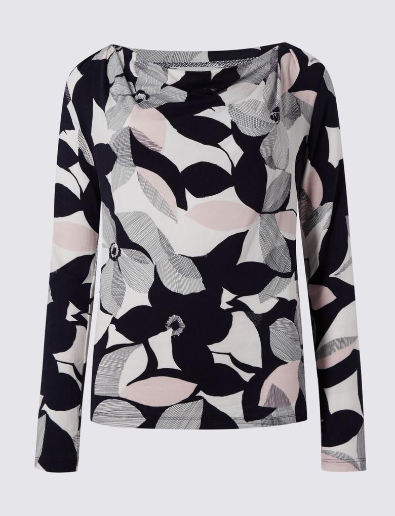 Lacivert Uzun Kollu Çiçek Desenli T-Shirt