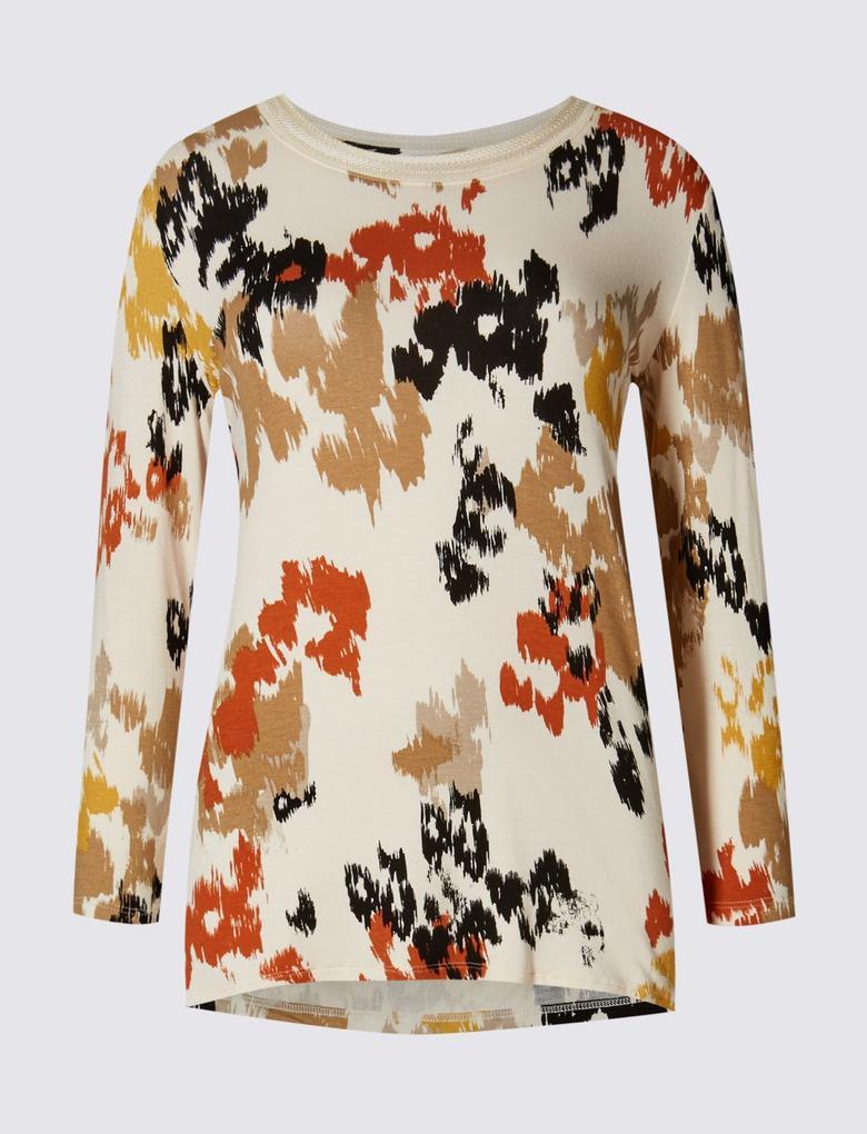 Turuncu Uzun Kollu Desenli T-Shirt