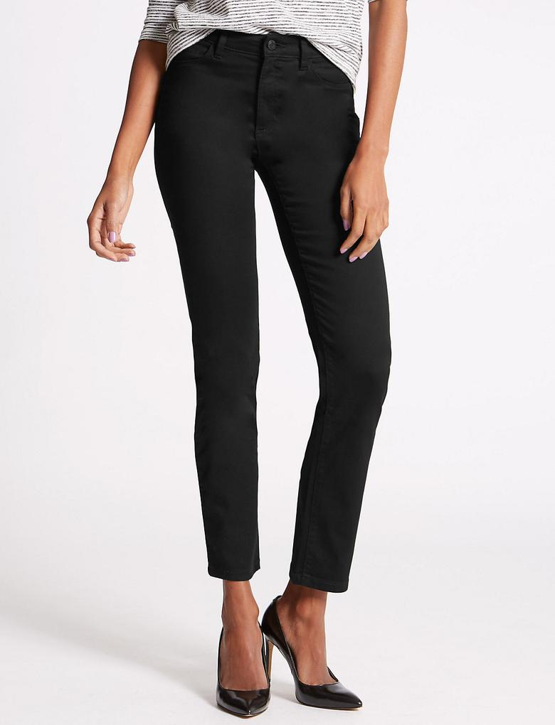 Siyah Sculpt & Lift Straight Denim Pantolon
