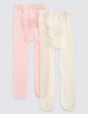 Kız Çocuk Pembe 2'li Pamuklu Fırfır Detaylı StaySoft™ Külotlu Çorap (0 - 24 Ay)