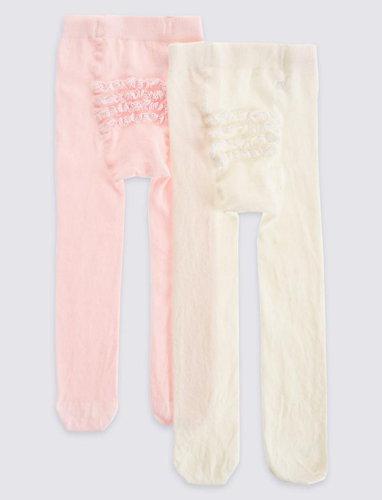 2'li Pamuklu Fırfır Detaylı StaySoft™ Külotlu Çorap (0 - 24 Ay)
