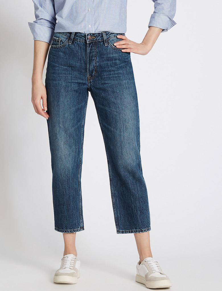 Orta Belli Kısa Paça Denim Pantolon