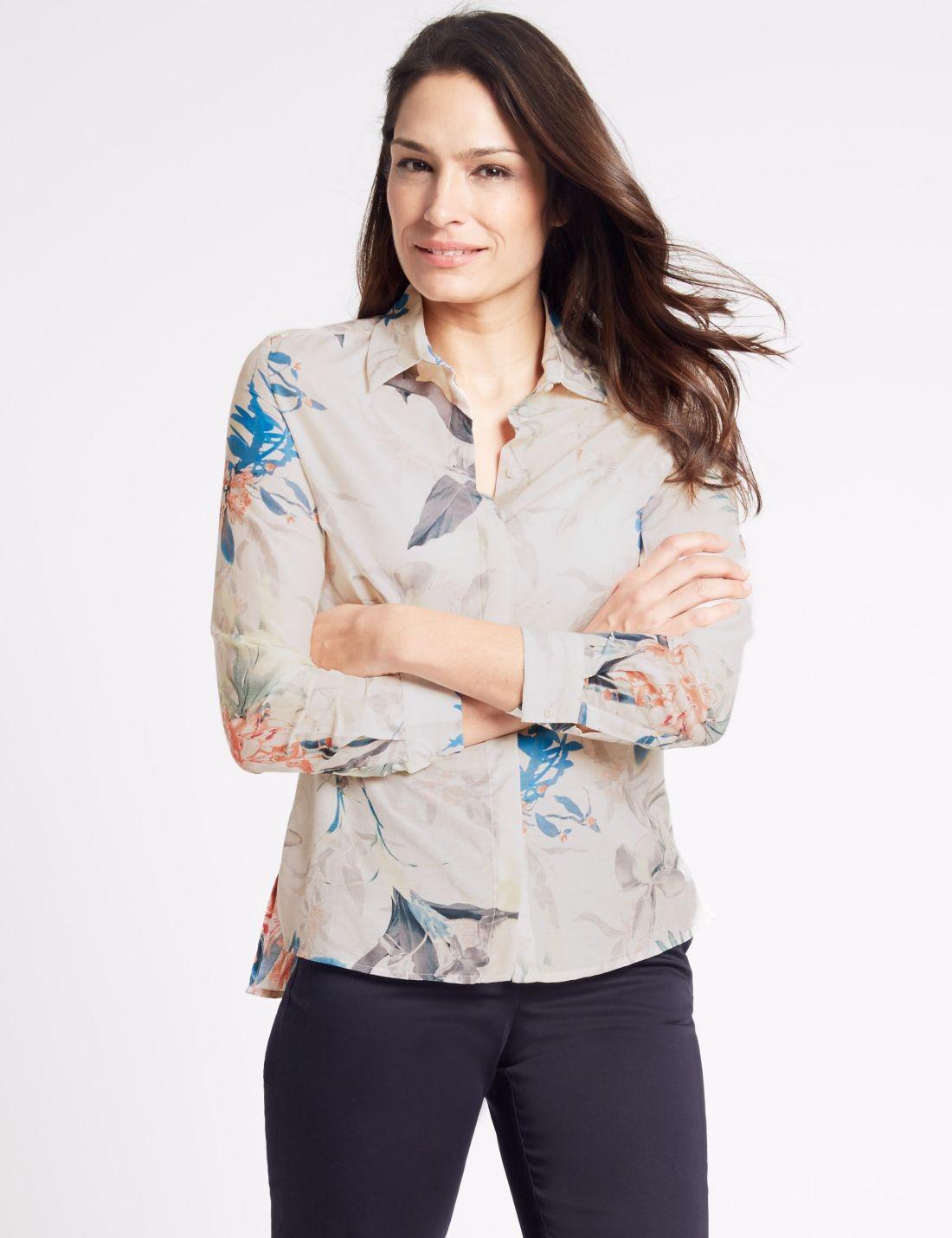 Pamuk İpek Desenli Uzun Kollu Gömlek