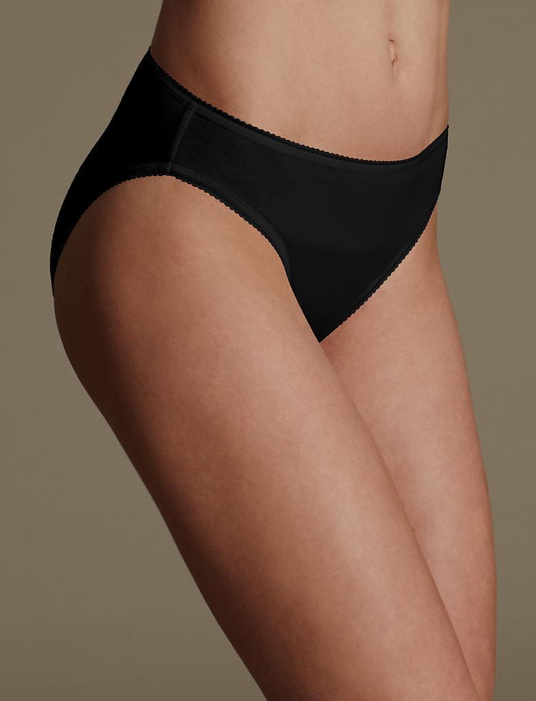 Kadın Siyah 5'li Pamuklu High Leg Külot (Yeni ve Geliştirilmiş Kumaş)