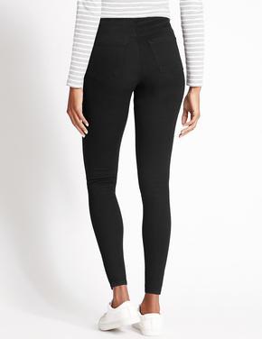 Kadın Siyah Pamuklu Jean Tayt Pantolon