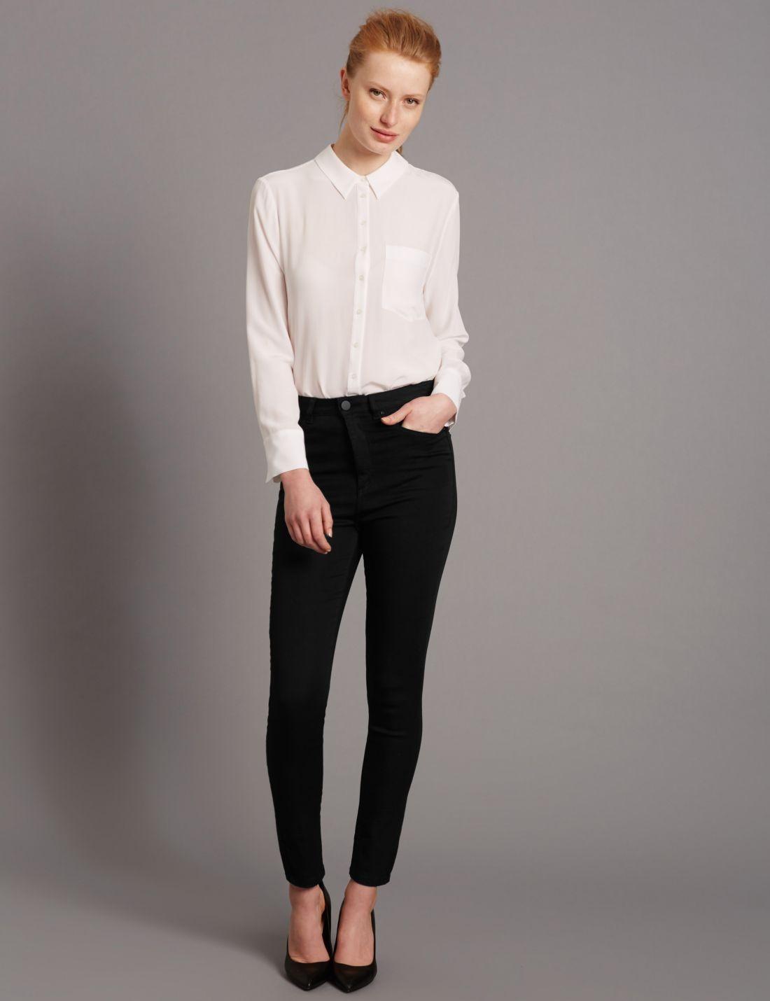 Yüksek Bel Kısa Slim Jean Pantolon