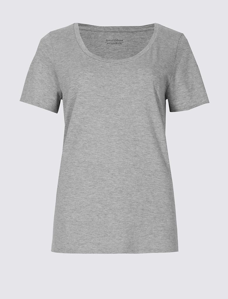 Pure Supima Pamuklu Derin Yaka T-Shirt
