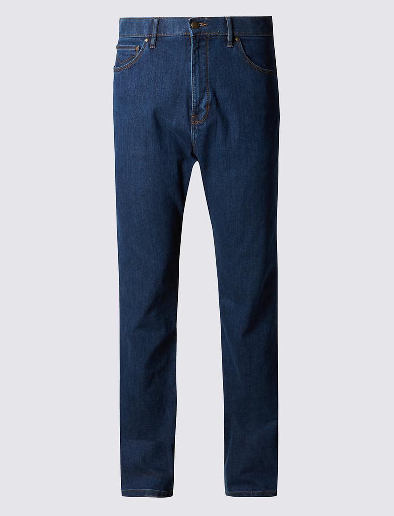 Regular Fit Streç Suya Dayanıklı Denim Pantolon