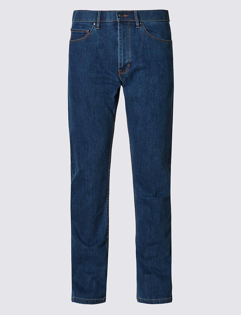 Straight Fit Streç Suya Dayanıklı Denim Pantolon