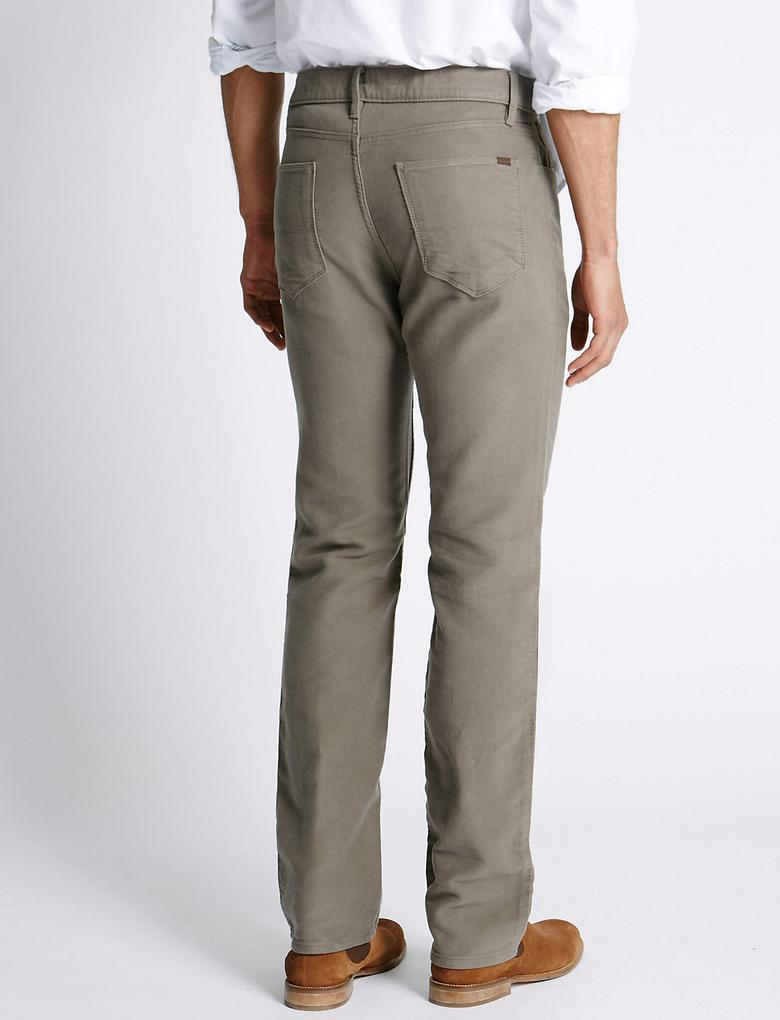 Saf Pamuklu Regular Fit Moleskin Pantolon