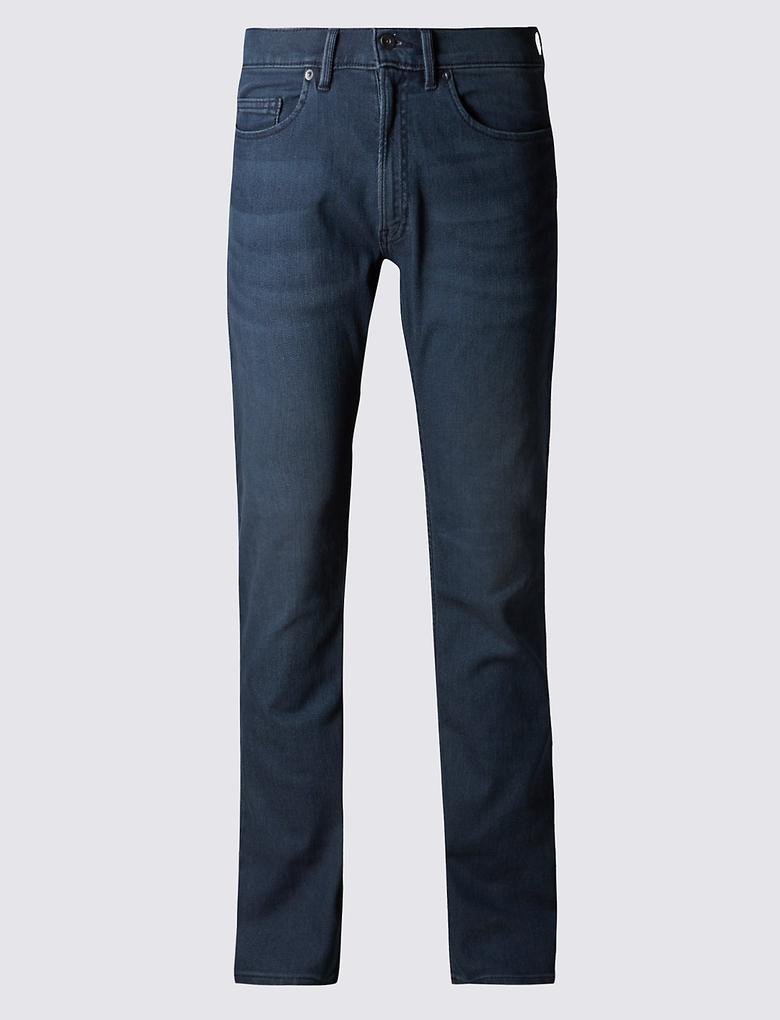 Lacivert Slim Fit Streç Travel Jean Pantolon
