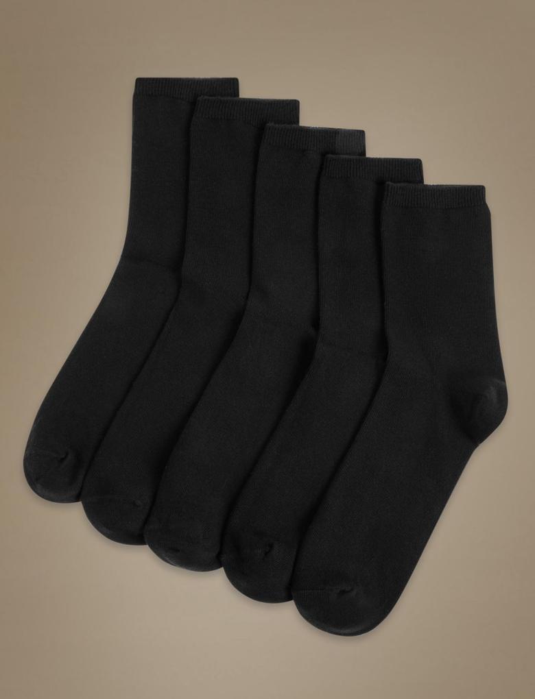 Kadın Siyah 5'li Pamuklu Çorap Seti