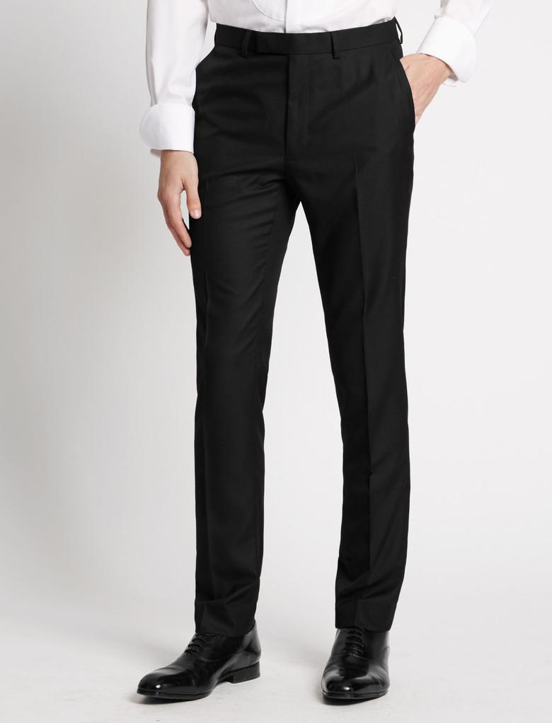 Siyah Siyah Dokulu Modern Slim Pantolon