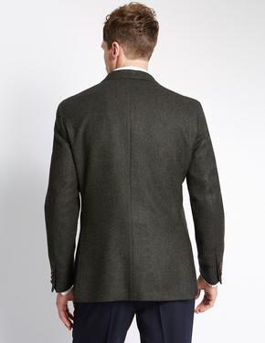 2 Düğmeli Saf Yünlü Herringbone Ceket